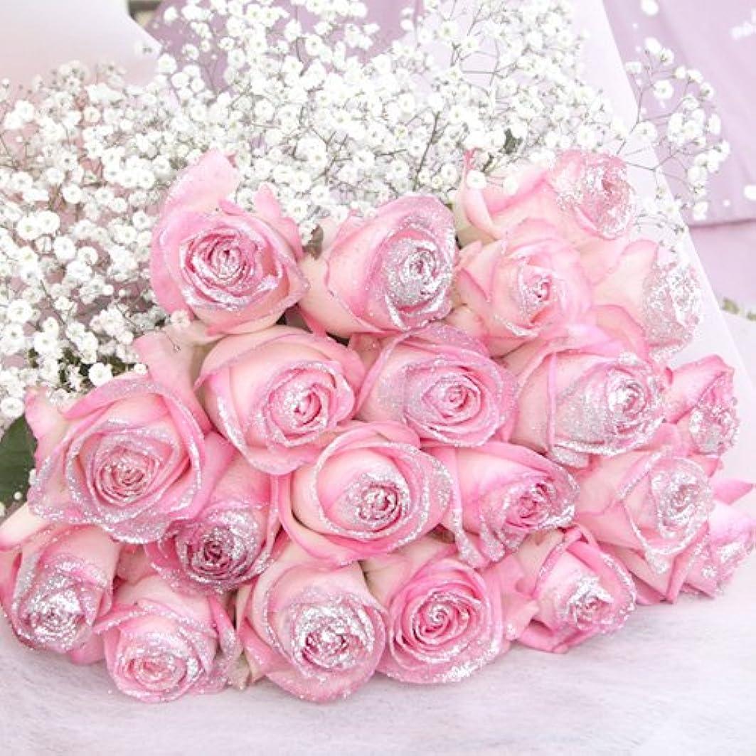 吐く潜む最小化するキラキララメ付きピンクローズ20本の花束(キラキラ白いかすみ草付)誕生日 記念日 お祝いに 花言葉「ただひとつの恋」