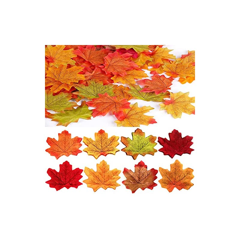 silk flower arrangements 300pcs assorted mixed autumn fall maple leaves artificial flowers artificial maple leaves table scatters diy art craf decoration for fall weddings party events decorating, random 6 colors 3.1inch