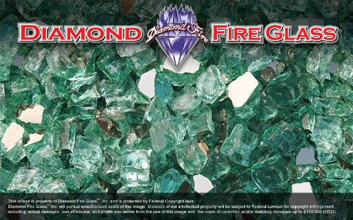 New Diamond Fire Glass Green Reflective Nugget 60 Pound Bucket