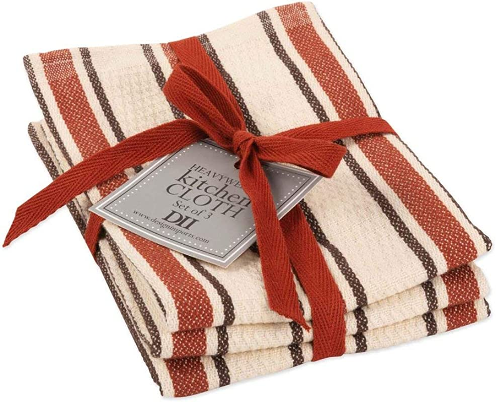 Design Imports DII Autumn Stripe Dishcloth Set Of 3 Autumn Stripe