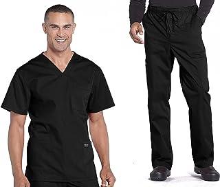 Cherokee Workwear Professionals Men's Scrub Set - WW695 V-Neck Top & WW190 Tapered Leg Drawstring Cargo Pant