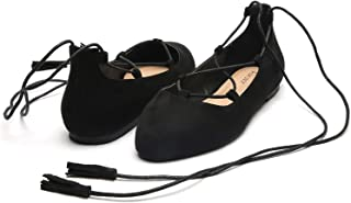Women's Wide Width Flat Shoes - Lace UP Slip On Pointed Toe Ballet Flats.