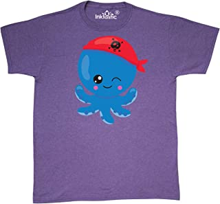 Pirate Octopus, Blue Octopus with Red Pirate Hat T-Shirt