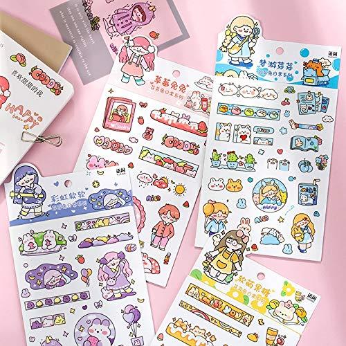 PMSMT 6 unids/Lote Lindo Conejo de Dibujos Animados Chicapapelería Decorativa Pegatinas diarias Scrapbooking DIY Diario álbum Stick Etiqueta