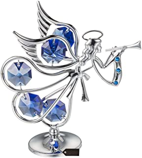 Matashi Guardian Angel Figurine Crystal Studded Ornament (Flying Angel, Chrome/Silver)
