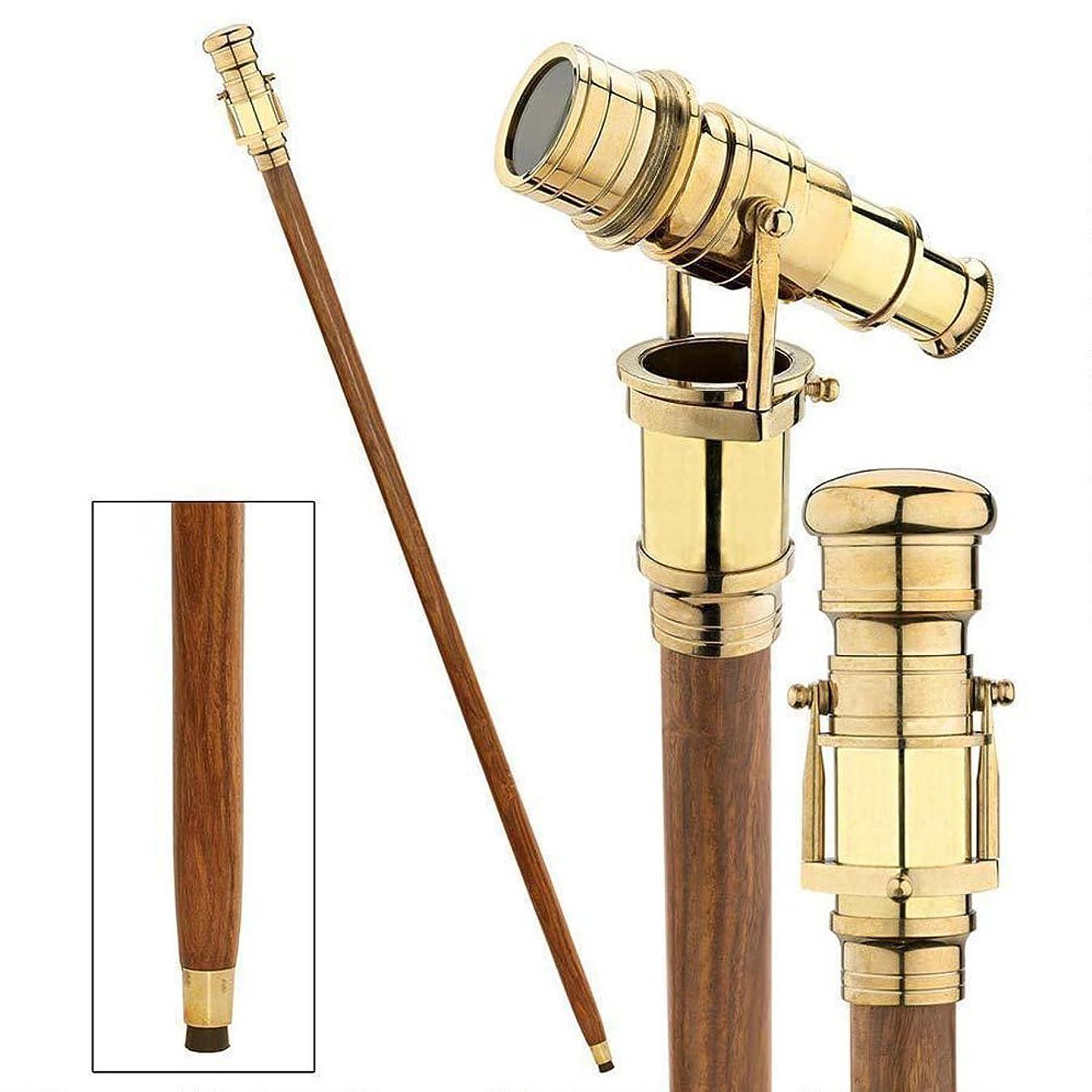 Sun & Moon Vintage Brass Handle Victorian Telescope Head Foldable Wooden Walking Stick Cane (Brass Finish)