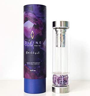 Pure Amethyst Crystal Water Bottle + Quality Tea Infuser for Gem Water + Hot/Cold Brew Tea + Infusions. Includes signature...