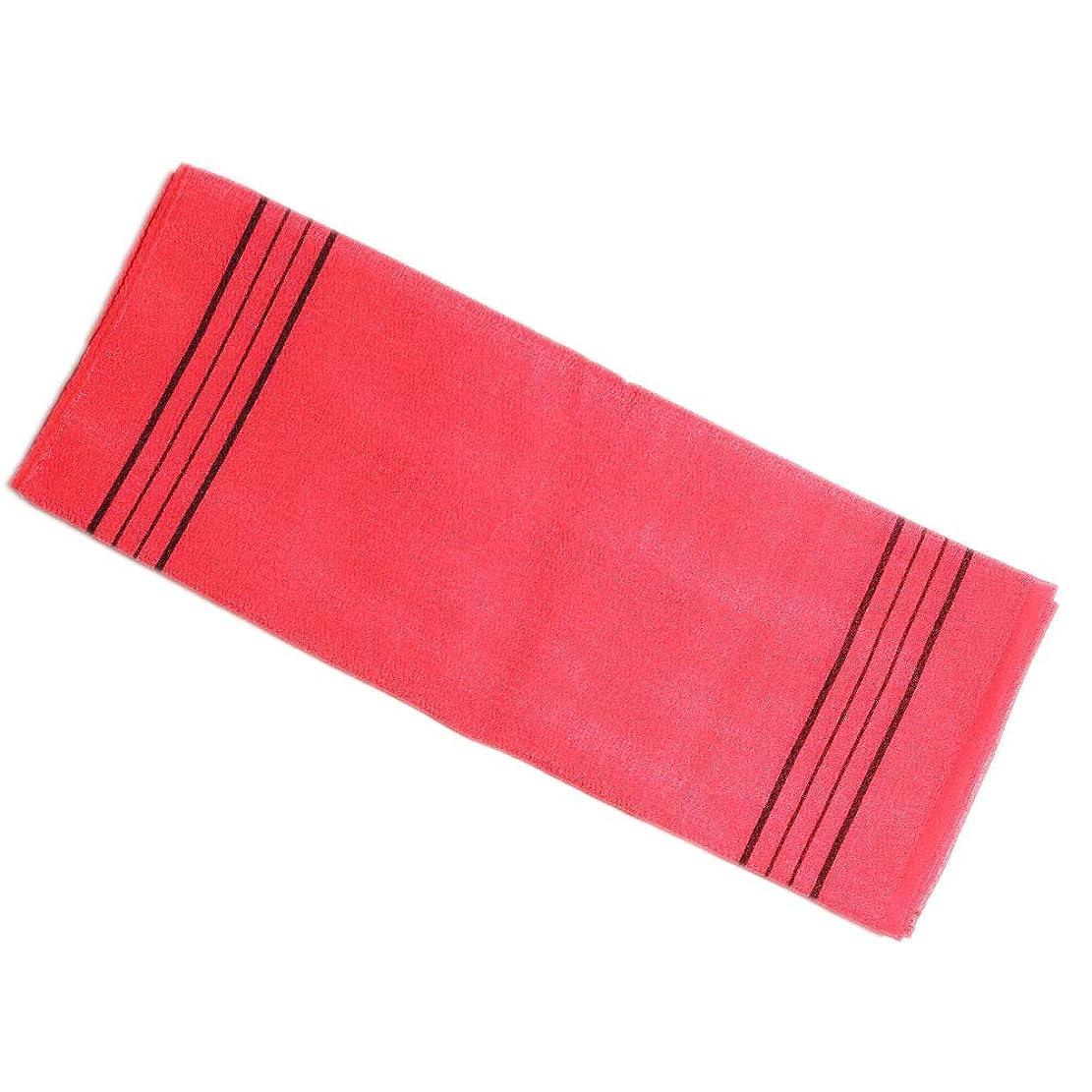 (韓国ブランド)韓国式あかすりボディタオル ロングサイズ 35x100cm (赤色) (あかすり アカスリ 垢すり ボディタオル バスタオル 体洗い お風呂用体洗い 角質除去/血行促進 バスグッズ)