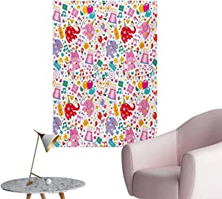Unpremoon Kids Birthday Wallpaper Children Party Theme with Animals Elephants Hearts and Balloons ColorfulMulticolor W24 xL36 Cool Poster
