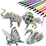 Jiaweixiang 3D Coloring Puzzle Set, 4 Animals Puzzles with 12 Pen Markers, Art Coloring Painting 3D...