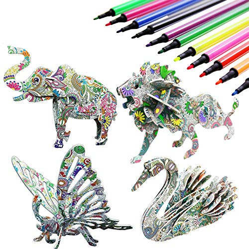 Jiaweixiang 3D Coloring Puzzle Set, 4 Animals Puzzles with 12 Pen Markers, Art Coloring Painting 3D Puzzle for Kids Age 7 8 9 10 11 12. Fun Creative DIY Toys Gifts for Girls and Boy