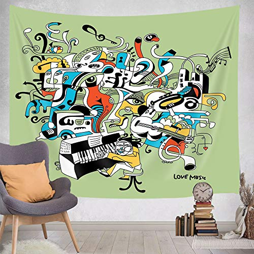 JAWO Music Tapestry Wall Hanging, Graffiti Style Music Lettering Hip Hop Rhythm Tempo Hipster Concept Wall Tapestry Art for Home Decor Dorm Living Room Bedroom Bedspread, 71X60 in
