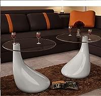 Lingjiushopping Tables Living Room Set of 2Glass Teardrop White Design Diameter of the Plan: 42cm Height: 55cm