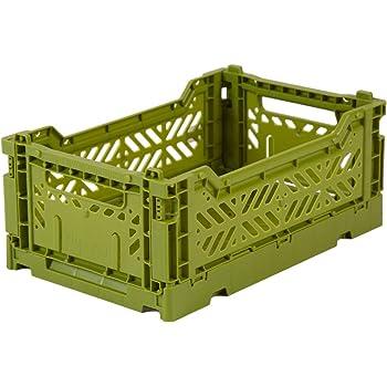 Caja plegable Ay-Kasa, caja plegable de plástico resistente, apilable, mini (27x17x11cm), oliva: Amazon.es: Hogar