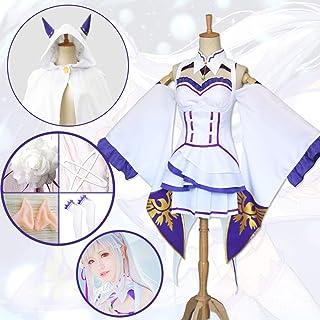 Anime Re Life in Un Mondo Diverso da Zero Emilia Gioco di Ruolo Fancy Clothing Set dataoeryingshiwenhuachuanmei Set di Costumi Cosplay con Parrucca e Mantello