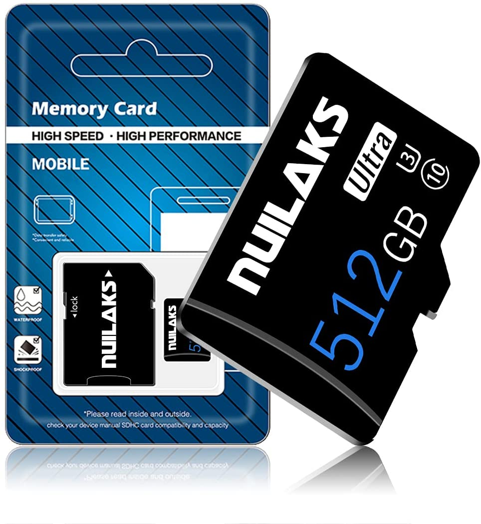 512GB Micro SD Card with SD Card Adapter High Speed Micro SD Memory Card SD Memory Cards for Camera, Smartphone, Tablet, Drone