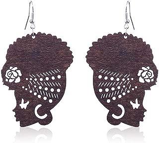 Natural Wood Africa Map Reggae Earrings Women Exaggerated Pendants Bib Jewelry Kofun Earrings