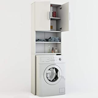 Toilinux Meuble de buanderie pour Machine à Laver Jeany - L. 64 x H. 190 cm - Blanc