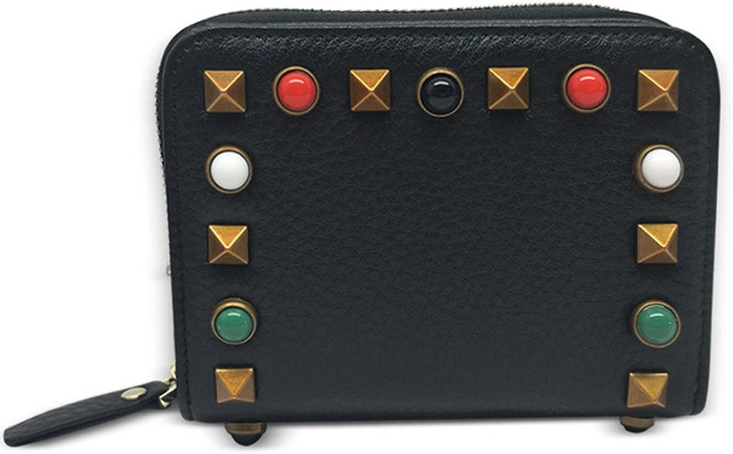 RFID Blocking Credit Card Holder Leather Compact Studded Wallet for Women
