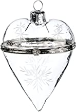Rustic Pearl Collection Fillable Glass Heart Christmas Box Ornament   Crystal Clear Glass with Elegant Snowflake Etchings