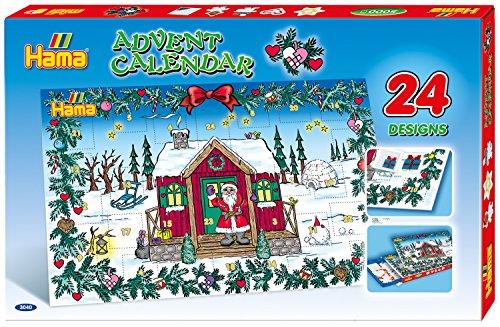 Hama Perlen 3040 Geschenkset Adventskalender mit ca. 5.000 bunten Midi Bügelperlen mit Durchmesser 5 mm, 24 Motivvorlagen und 5 Stiftplatten, inkl. Bügelpapier, kreativer Bastelspaß für Groß und Klein