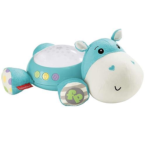 Fisher-Price Hippo Douce Nuit Peluche Veilleuse Bébé, avec Projection de Lumière Étoilée, Musique et Sons, dès la Naissance, Bleue, CGN86