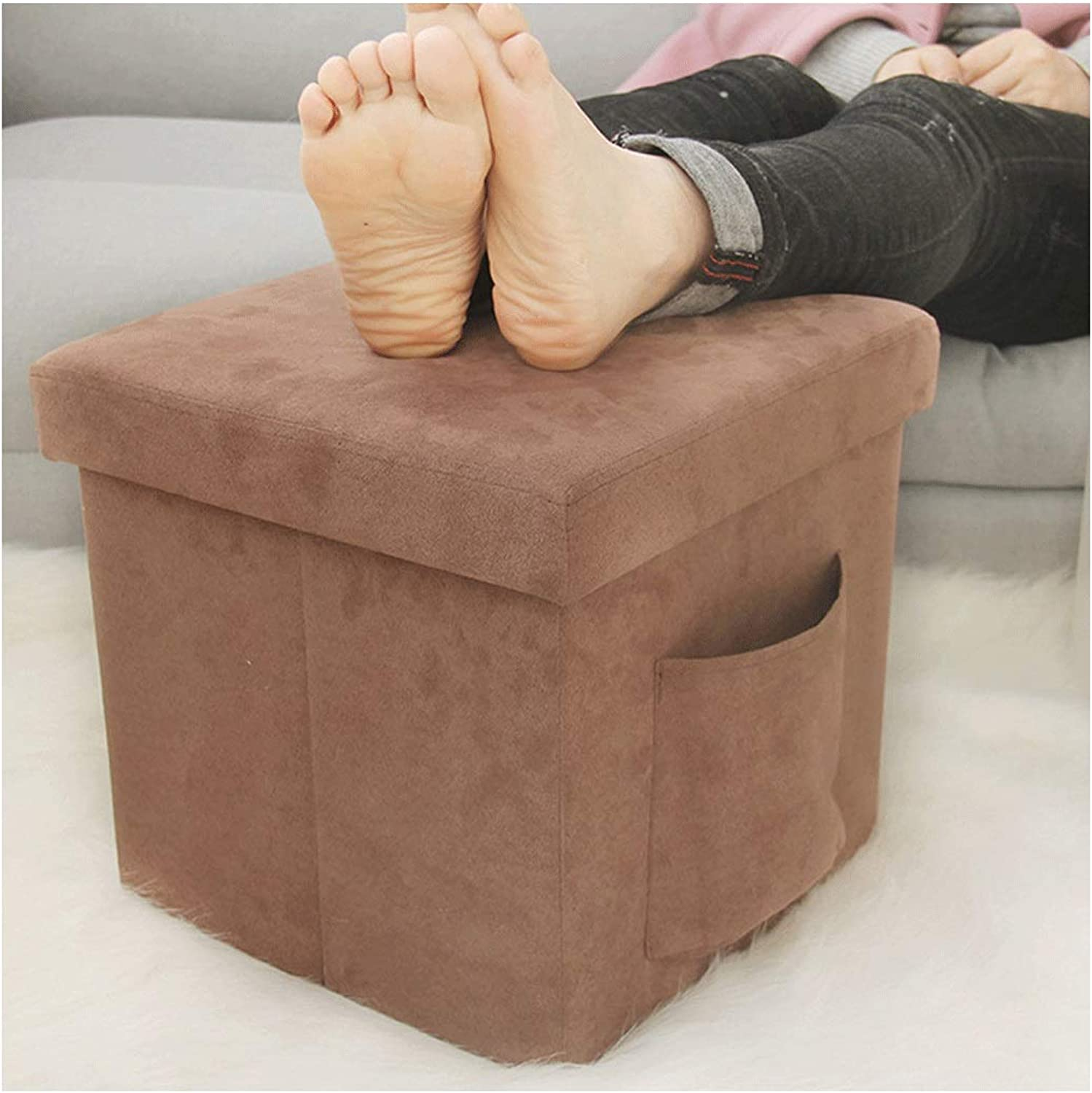 Sofa shoes Bench Suede Folding Storage Stool Storage Stool Can Sit People Storage Box Square (color   Brown, Size   30  30  30cm)