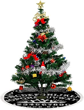 Ouija Board Black Christmas Tree Skirt (3 Sizes) - Tree Skirt Xmas Tree Mat for Holiday Christmas Party Decorations Xmas Deco