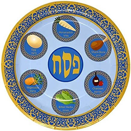 """48 9"""" Passover Plates for Pesach Plate Disposable Paper Tableware for Seder Party Supplies Decorations"""