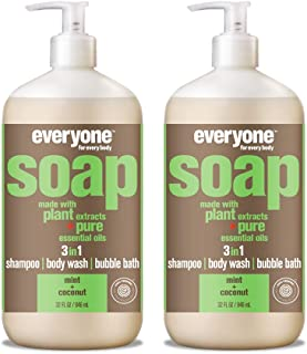 Everyone 3-in-1 Soap: Shampoo, Body Wash, and Bubble Bath, Mint and Coconut, 32 Ounce, 2 Count
