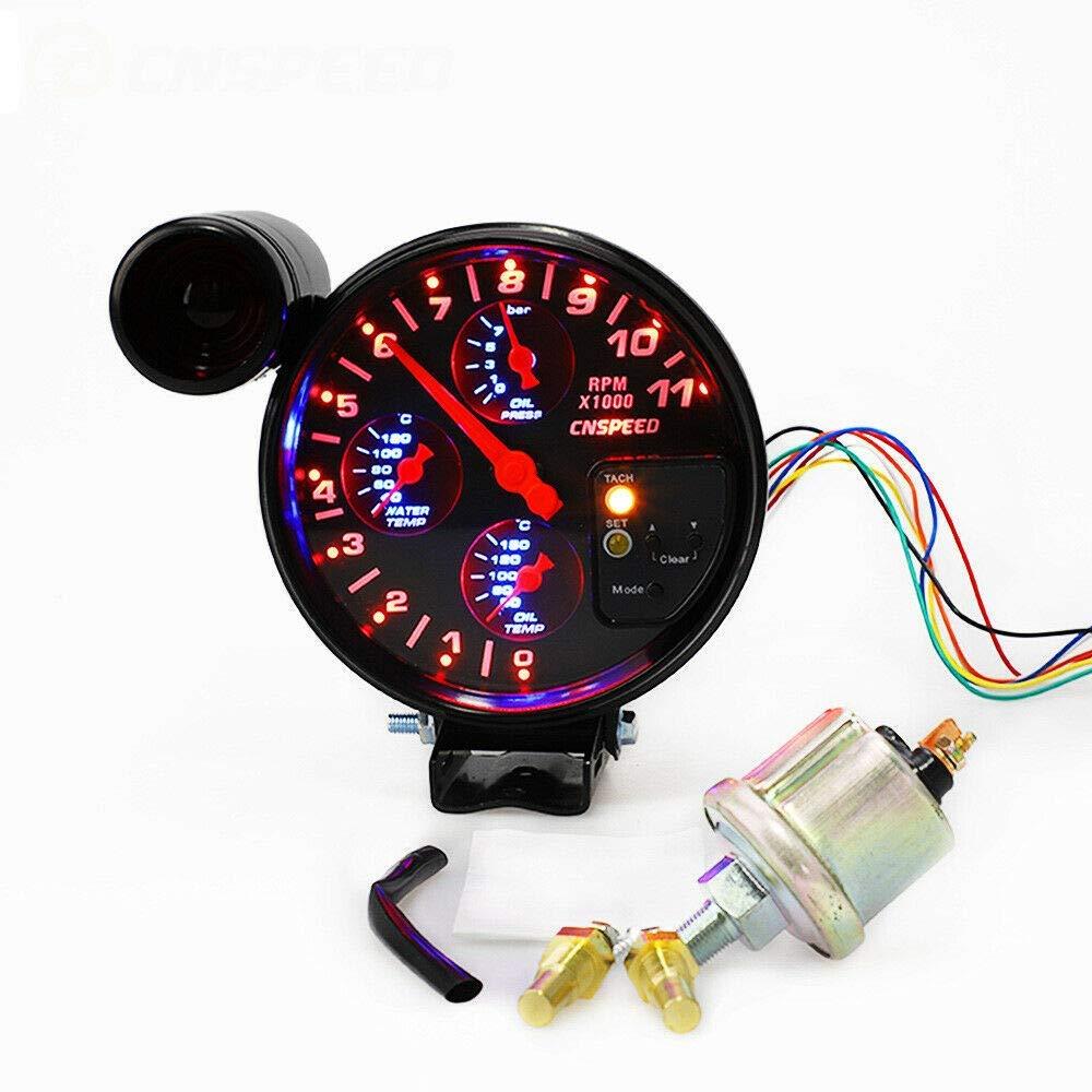 Riloer Medidor de RPM 4 en 1 para Automóvil, Tacómetro Automotriz de 5 Pulgadas y 12 V con Asiento y Cambio de Marchas, Prensa de Aceite, Temperatura de Aceite de Agua para Automóvil
