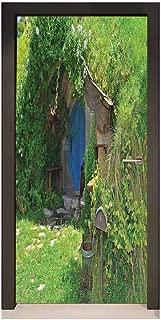 Hobbits Door Wallpaper Fantasy Hobbit Land House in Magical Overhill Woods Movie Scene New Zealand for Bedroom Decoration Green Brown Blue,W17.1xH78.7