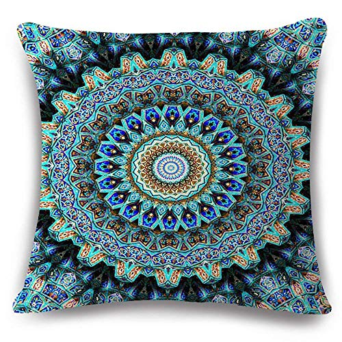 Funda de almohada de algodón con cremallera oculta, diseño floral retro, color europeo, diseño de brújula floral, color azul y turquesa