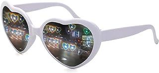 نظارة شمسية على شكل قلب، بتصميم متغير الضوء بنمط مهرجانات الفرق وموسيقى الرقص الالكترونية للجنسين