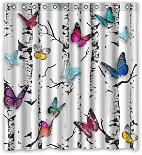 FMSHPON Butterfly Waterproof Fabric Bathroom Shower Curtain 66 x 72 Inches