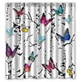 Top Home Textiles Custom Waterproof Fabric Bathroom Shower Curtain [Duschvorh?nge] [Duschvorhang] Butterfly 66