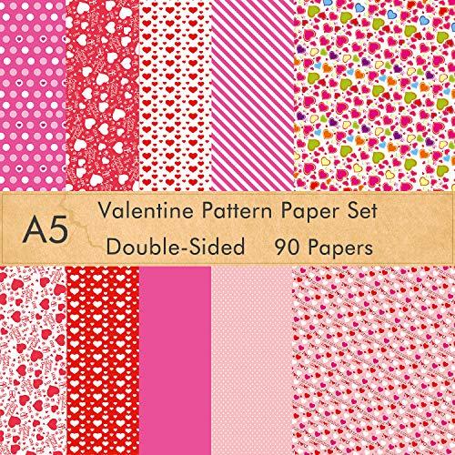 FEPITO Juego de papel con patrón de San Valentín de 90 hojas, papel decorativo de 14 x 21 cm para hacer tarjetas de álbum de recortes DIY Suministros de decoración para el día de San Valentín
