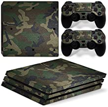 Chickwin PS4 Pro Vinyl Skin Full Body Cover Sticker Decal For Sony Playstation 4 Pro Console and 2 Dualshock Controller Skins (Green Camo)