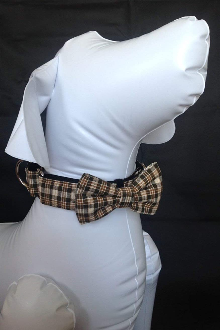 Martingale Dog Collar With Bow Tie + Brown Plaid + Slip On Dog Collar + Adjustable Sizes Small, Medium, Large, Extra Large