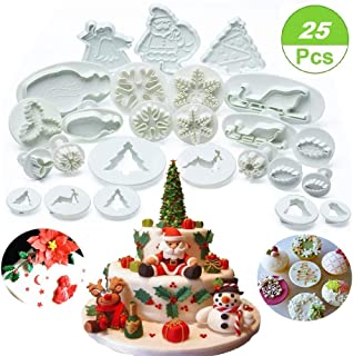 (Set of 25) Christmas Cookie Cutter Set, Fondant Plunger Cutters and Molds for Cupcake Cake Topper Decorating Embossing Tools, Snowflake Christmas Tree/Leaves/Sled/Snowman/Jingling Bell/Deer