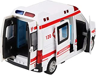 Ambulance Toy Car, Alloy Emulated Emergency Vehicle, Diecast Model with LED Light for Holiday Parties for Birthday