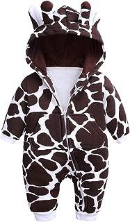 Baby Boys Girls 3D Giraffe Hooded Romper Infant Warm Onesies Costume
