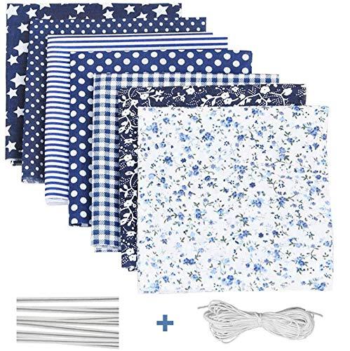 Tela algodon para coser 7 PCS, DIY Floral Telas Patchwork Material Cuadrados con Cuerda Elástica Puente de la Nariz Clip Tira, Tela por metros Manualidades para costura de acolchado de Scrapbooking