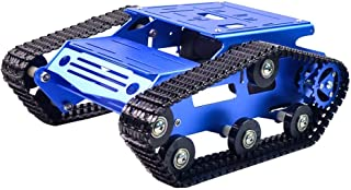 KOOKYE Robot Tank Car Kit Tank Chassis Platform Metal Stainless Steel 2DW Motor 9V for Arduino / Raspberry Pi DIY (Blue Tank Chassis)