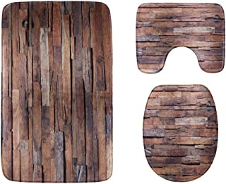 Old Grunge Dark Textured Wooden Bathroom Rug Mats Set 3-Piece,Soft Shower Bath Rugs,Contour Mat and Toilet Seat Lid Cover ...