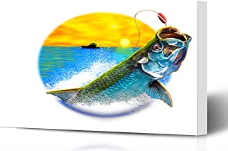 Ahawoso Canvas Prints Wall Art 16x12 Inches Ocean Green Fishing Tarpon Jumping Painting Variation Scales Wildlife Sports Recreation Blue Fish Wooden Frame Printing Home Living Room Office Bedroom