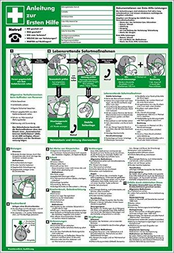 LEMAX® Aushang Anleitung zur Ersten Hilfe, schwarz/weiß/grün, Kunststoff, 395x575mm