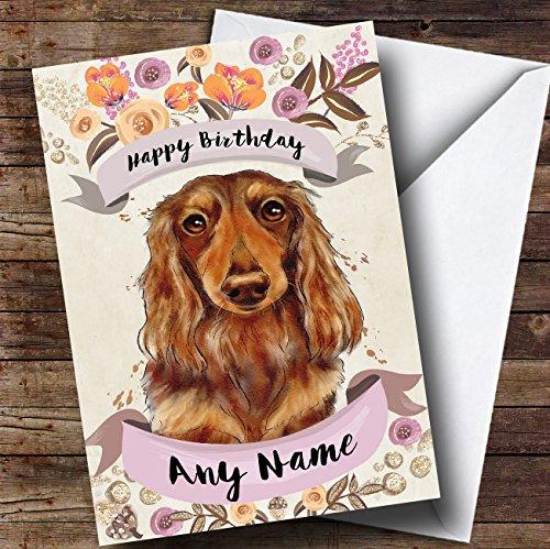 Rustieke gouden hond langharige teckel gepersonaliseerde verjaardagskaart