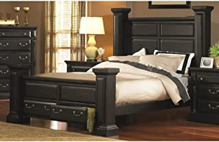 Progressive Furniture Bed in Distressed Antique Black Finish (King: 99 in. L x 89 in. W x 66 in. H)