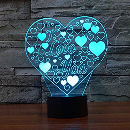 LEDMOMO 3D Herz Formen Nachtlichter 7 Farben ändern LED Lampe Touch Schalter USB Tischlampe für Paare romantische Nacht Valentinstag Liebhaber Geschenk (ich liebe dich)